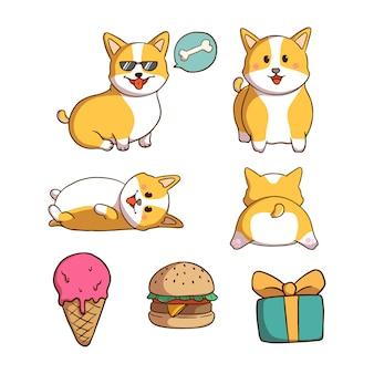 落書きスタイルのかわいいコーギー犬コレクション