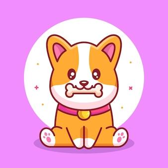 Cute corgi dog eating bone pet animal logo vector icon illustration in flat style