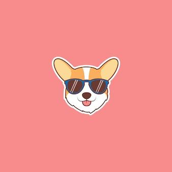Симпатичная корги собака лицо с наклейкой мультфильм солнцезащитные очки