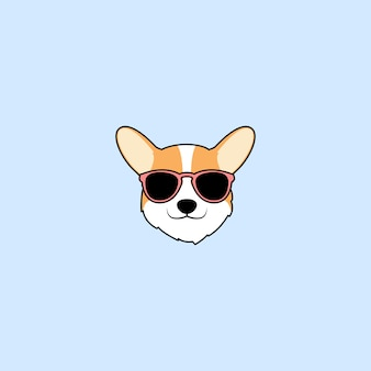 Cute corgi dog face with sunglasses cartoon
