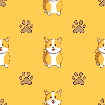 Cute corgi and dog footprints seamless pattern with doodle style on yellow background