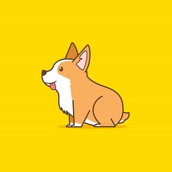 Cute corgi dog illustration