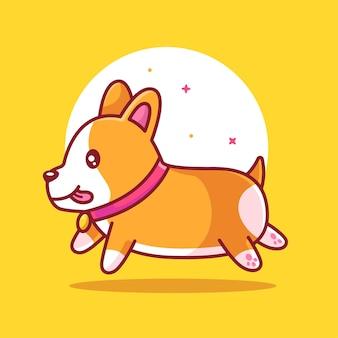 평면 스타일에 애완 동물 동물 로고 벡터 아이콘 그림을 실행하는 귀여운 corgi 개