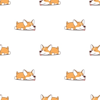 Cute corgi dog sleeping seamless pattern