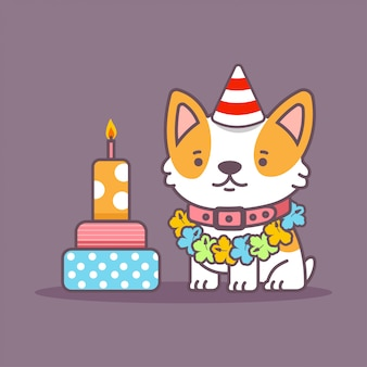 Cute corgi dog vector cartoon pet character with cake isolated on background.