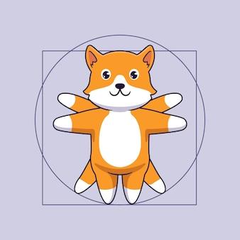 Cute corgi dog in vitruvian illustration concept