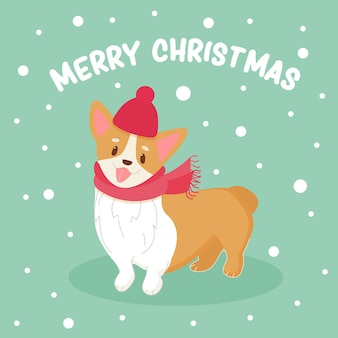Cute corgi dog with santa hat and scarf funny animal new year festive poster