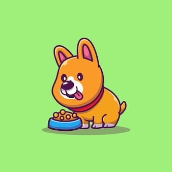 귀여운 코기 먹는 개밥 만화 아이콘 그림. 동물 아이콘 개념 절연입니다. 플랫 만화 스타일