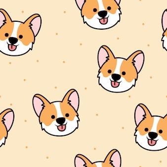Cute corgi face cartoon seamless pattern