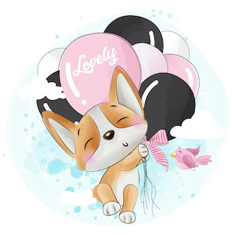 Cute corgi flying with balloon