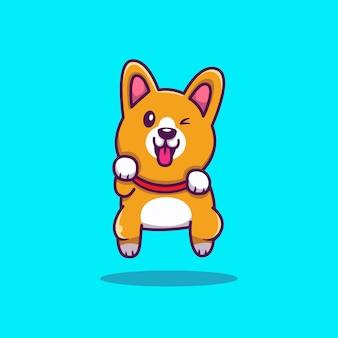 Симпатичные корги прыжки мультфильм иконка иллюстрация. концепция животных значок изолированы. плоский мультяшный стиль