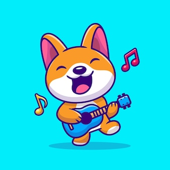 Симпатичные корги, играя на гитаре мультфильм векторные иллюстрации. изолированная концепция музыки животных. плоский мультяшном стиле