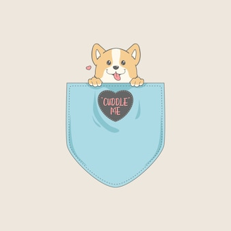 Cute corgi in pocket t-shirt design