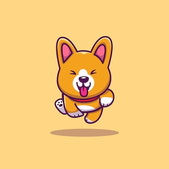 귀여운 코기 실행 만화 아이콘 그림입니다. 동물 아이콘 개념 절연입니다. 플랫 만화 스타일