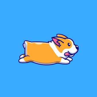 Cute corgi running cartoon illustration