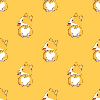 Cute corgi seamless pattern with doodle style on yellow background