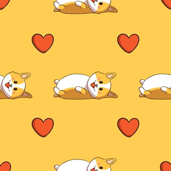Милый корги спит и значок любви в бесшовные модели с каракули стиле на желтом фоне