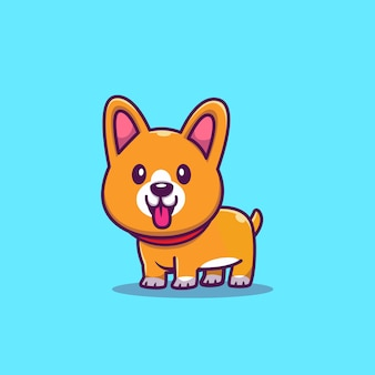Cute corgi smiling cartoon   icon illustration. animal icon concept isolated  . flat cartoon style