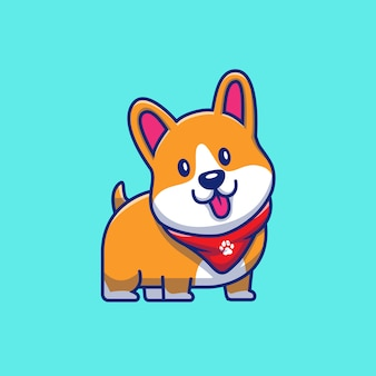 Cute corgi smiling icon illustration. corgi mascot cartoon character. animal icon concept isolated