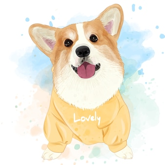 Cute corgi watercolor for printing