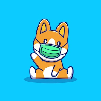 Cute corgi wear mask cartoon icon illustration. animal mascot character. health animal icon concept isolated