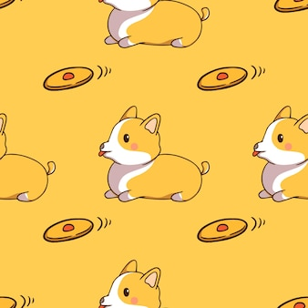 Cute corgi with toy in seamless pattern with doodle style on yellow background