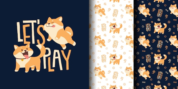 Cute corgis dogs seamless pattern