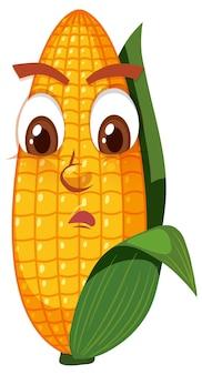 흰색 바탕에 얼굴 표정으로 귀여운 옥수수 만화 캐릭터