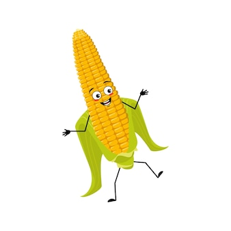 Милый кукурузный початок персонаж веселый с эмоциями танцует улыбка лицо руки и ноги смешной урожай и ...