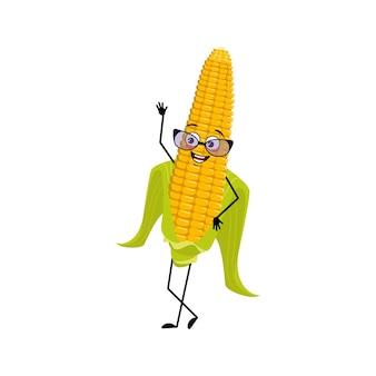 Симпатичный кукурузный початок персонаж в очках и радостные эмоции счастливое лицо улыбка глаза руки и ноги смешные ю ...