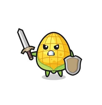 剣と盾と戦うかわいいトウモロコシの兵士、tシャツ、ステッカー、ロゴ要素のかわいいスタイルのデザイン