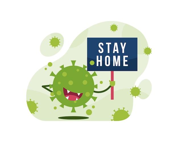 ホームステイテキストで看板を持っているかわいいコロナウイルスキャラクター