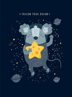 Cute cosmic mice mouse rat with cheese star