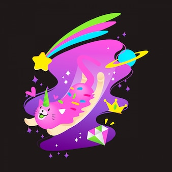 Cute cosmic unicorn cat vector illustration