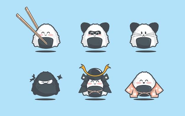 Cute cosplay onigiri samurai ninja set