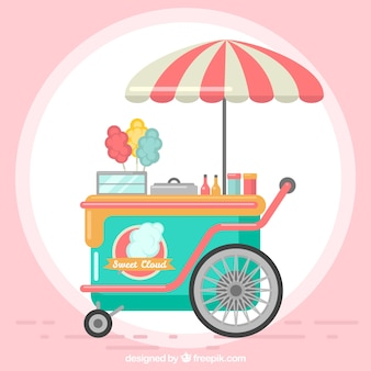 Cute cotton candy cart with umbrella
