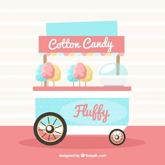 Cute cotton candy kiosk with flat design