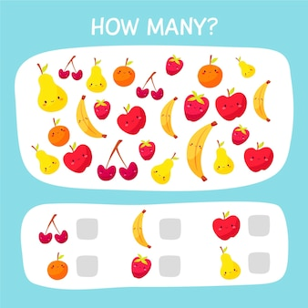 Cute counting game with fruits