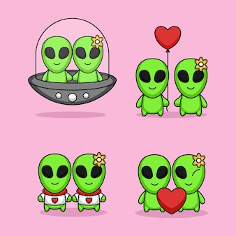 Cute of couple of aliens fall in love