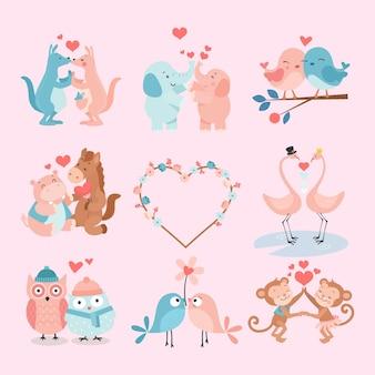 Cute couple animal vector set
