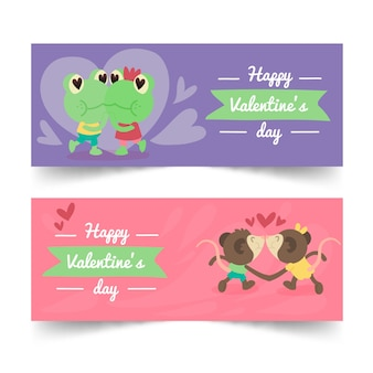 Cute couple animals valentine's day banners