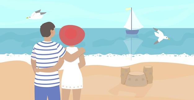 해변에서 귀여운 커플 여자와 남자 옴 여름 휴가 행복 한 가족 벡터 일러스트 레이 션