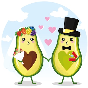 Cute couple avocado couple holding hands, valentine's day greeting card. avocado love with hearts vector illustration.