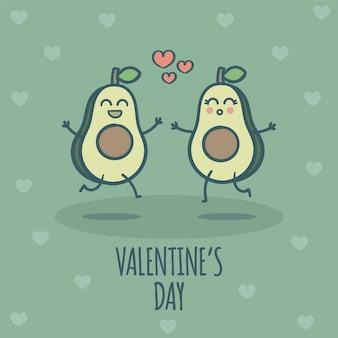 Милая пара авокадо в любви