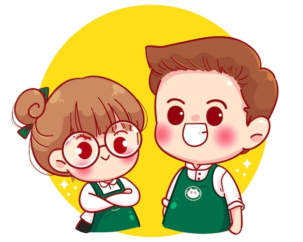 Cute couple barista in apron standing with arms crossed cartoon character illustration