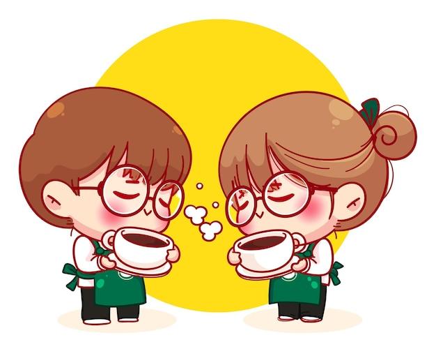 ホットコーヒーカップ漫画のキャラクターイラストを保持しているエプロンのかわいいカップルバリスタ
