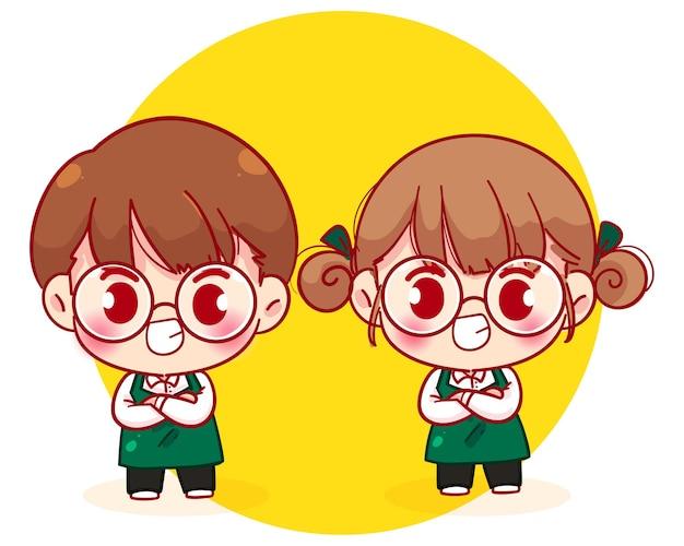 腕を組んで立っているエプロンのかわいいカップルバリスタ漫画のキャラクターイラスト