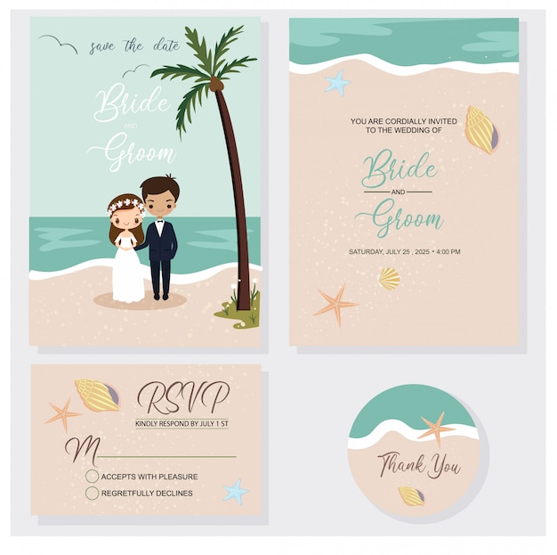 Cute couple in beach wedding invitations theme set