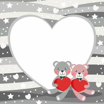 Cute couple bear hold heart background.