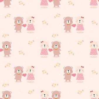 Cute couple bear in love seamless pattern
